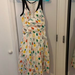 Pineapple print poplin dress
